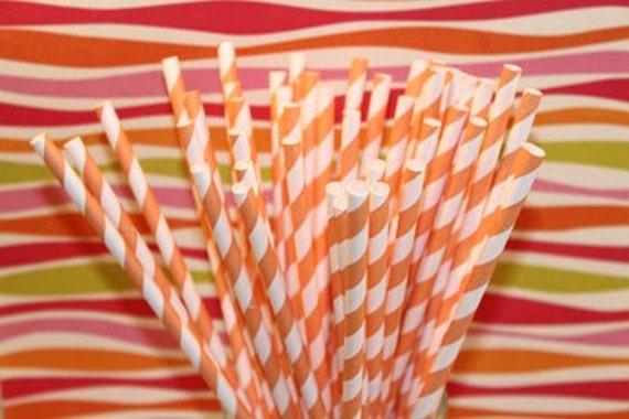 50 Vintage Orange Striped Paper Straws with DIY Printable Flags Carnival, Wedding, Birthday