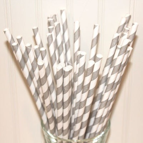 150 Gray Striped Paper Staws with FREE DIY Printable Flags. Wedding, Party Straws, Events, Beverage Bar,