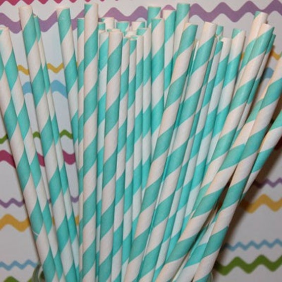 "50 Aqua Striped drinking paper straws with FREE Blank Printable Flags, Also see our ""Personalized"" flag options"