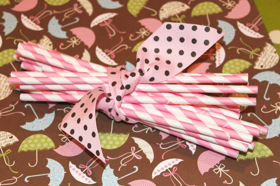 """25 Bubble Gum Pink and white barber striped paper drinking straws - with FREE Blank Paper Flags. Also see - """"Personalized"""" flags option."""