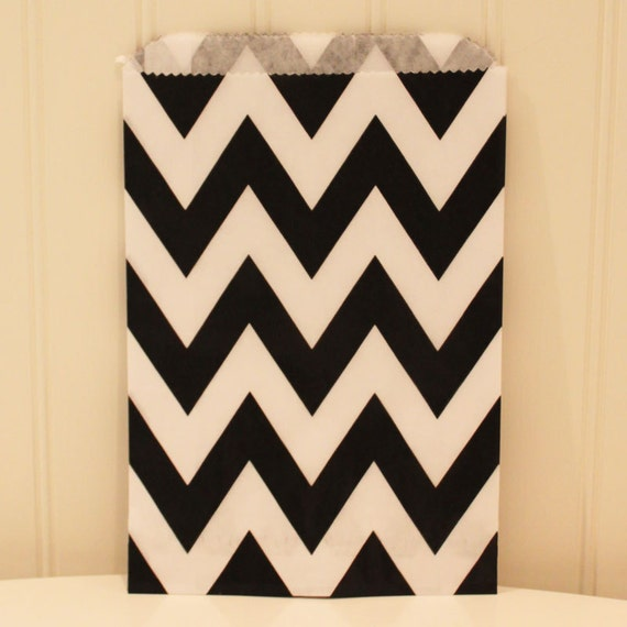 Favor Bags, 24 Black Chevron Bags, Party Favor Bags, Wedding Favors, Baby Shower Favors, Bridal Shower, Candy Bags, Food Packaging, Birthday