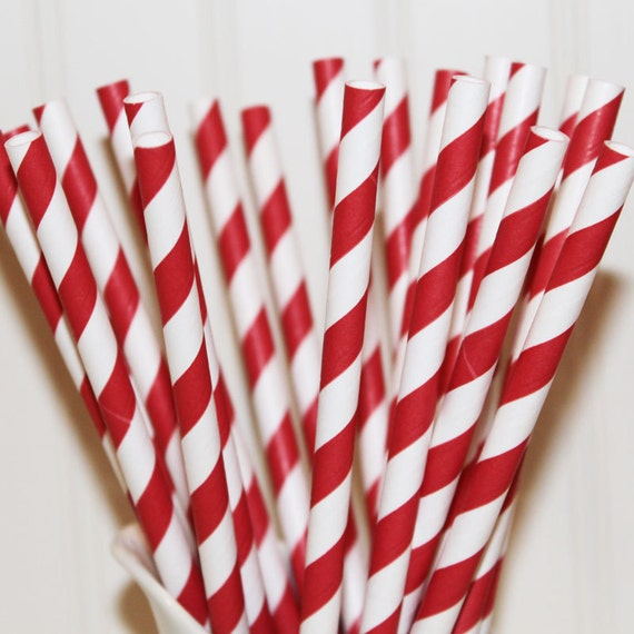 50 Ruby Red Stripe Paper Drinking Straws - Christmas - Party - Deep Rich Red - Birthday - Made In Usa