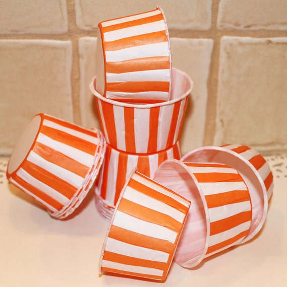 Paper Baking Cups Orange Stripe, 20 Candy / Nut Cups, Party, Cupcake Baking Cups, Ice Cream Cups