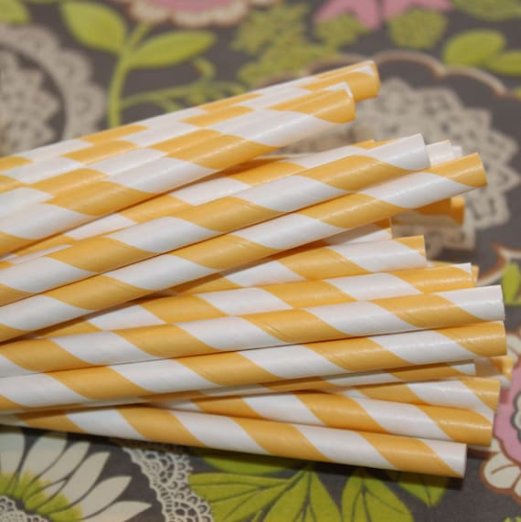 Paper Straws, 25 Vintage Yellow Striped Drinking Straws with DIY Printable Flags