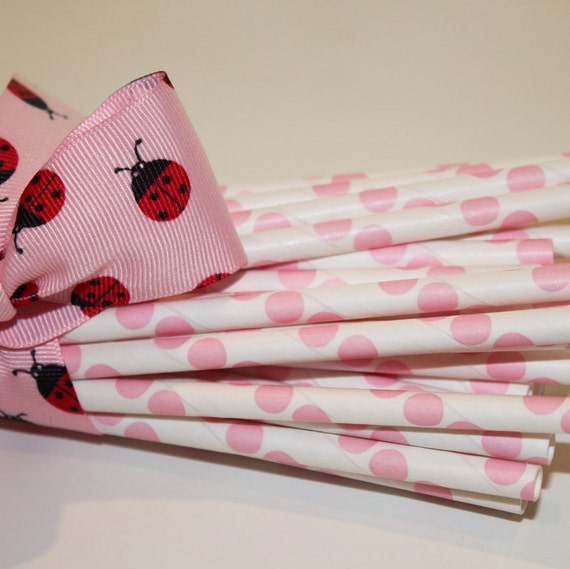 50 Paper Straws - Pink Dot Paper Straws with  Printable Paper Flags, Birthday, Party,Baby Shower