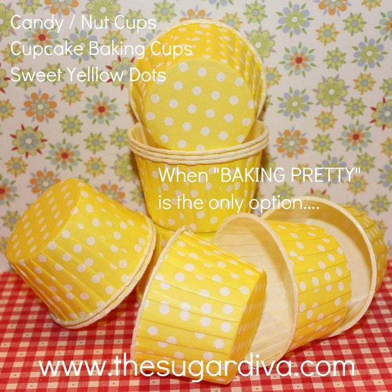 40 Candy / Nut Cups - Cupcake Baking Cups Yellow Dots  - Birthday, Wedding, Baby Shower
