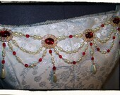 Ruby and Gold Banners Ivory Bodice Jewelry