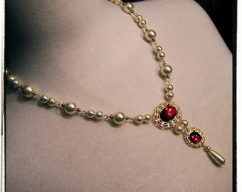 Ruby Red Lady in Waiting Tudor Renaissance Medieval Costume Necklace