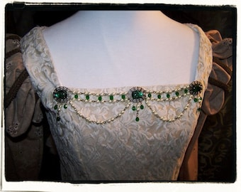 Emerald and Ivory Antique Aurora Bodice Jewelry Tudor Renaissance Medieval Costume Pearls