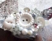 Winter Wonderland White Button Snowflake Barrette