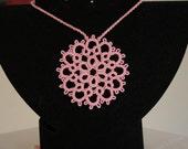 Beautiful Pink Tatted Pendant