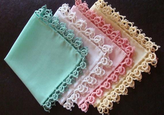 TATTING - Tatted Ladies Handkerchief - SET OF 4