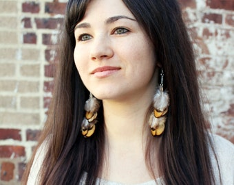 Unique Yellow Feather Earrings. Natural, Golden, Bright, Sunny, Chain.