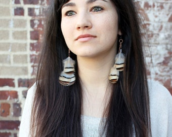 Real Feather Earrings. Pale Blue, Brown, Cream, Black. Woodland Natural. Copper Chain. Handmade Jewelry By Kisseverycomma