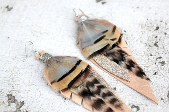 SALE Leather Feather Earrings. Recycled Leather, Peach, Silver, Blue, Black, Brown. Handmade By Kiss Every Comma.