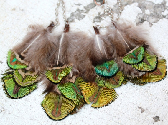 Single Feather Earring. Peacock Feathers. Bright, Emerald Green, Neon Blue. Silver Chain. Summer Of Love. Handmade Jewelry