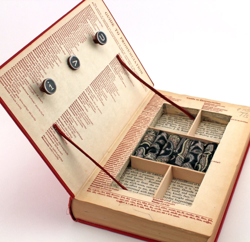 Vintage book jewelry box unique recycled a by kisseverycomma - Handmade jewellery box ideas ...