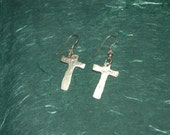 Cross Earrings in Fine Silver