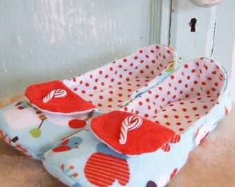 Slipper Sewing Pattern.  Warm Slippers Pattern.  Winter Wonderland Flannel Slippers Pattern Size 13 - 4