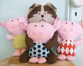 Toy Pattern - PDF - Three little pigs and the big bad wolf.