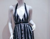 Navy & Grey Striped Dress lovely blue and gray nautical dress stripey with gold buttons halter neck dress with stripes
