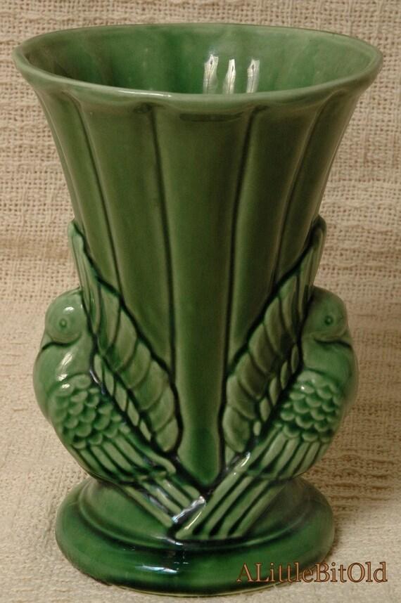 Shawnee Green Dove Bird Vase Vintage Made In Usa 829