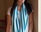 Cute Striped Jersey & Jacquard Infinity Loop Scarf By Jaxon Jill Designs Many Colors Available
