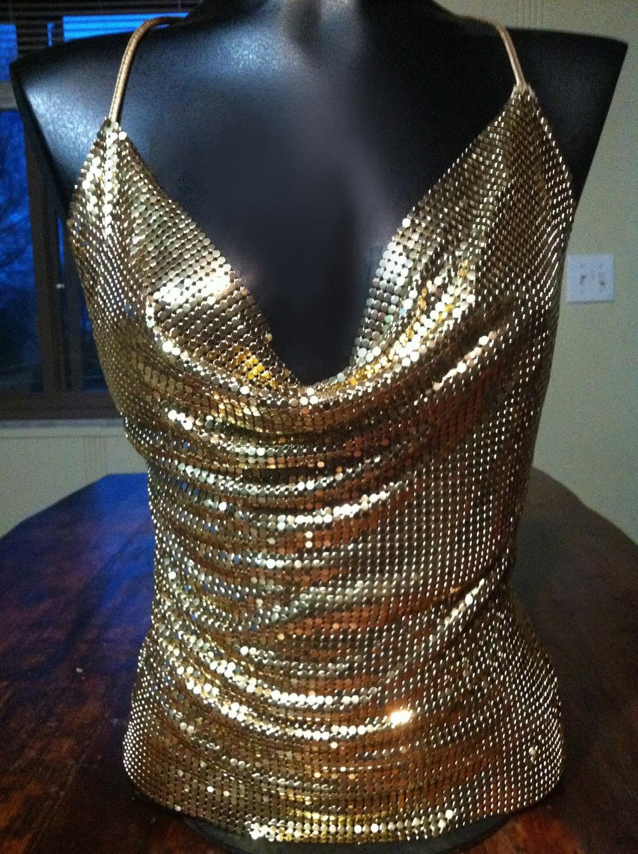Designer Sexy Gold Metal Mesh Open Back Halter Top By