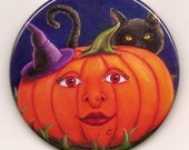 Pumpkin Witch Pocket Mirror