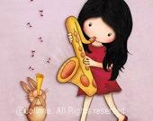 Girl and bunny playing saxophone art print, kids room poster, wall art for girls room