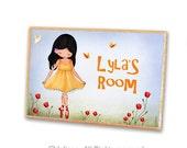 Personalized Child Name Sign, custom letters, kids door sign, girls room welcome door hanger , girl dancing in nature