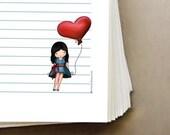 Printable binder filler set , download and print , love balloon girl, downloadable art, stationery