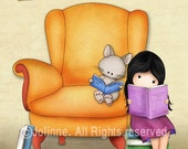 I Love Books - Children art prints, Kids room wall art , nursery decor, cute drawing print girl and cat reading books in a library (V2)