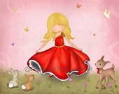 Happy Dance -Girls art prints, children room decor, illustration, nursery wall art, girl dancing, art print, poster, kids art, children art