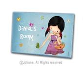 Personalized door plaque hanger for children , custom sign girl with butterflies , girls room or nursery original illustration