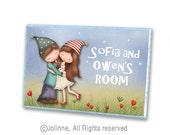 Personalized door sign, brother sister sign, kids room art, children art, kids wall decor, door sign custom, art for kids, door sign, art