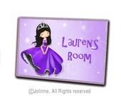 Princess custom name door plaque children decor kids personalized nursery door sign purple girls room decor door sign purple door sign