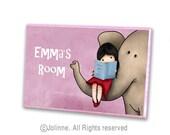 Personalized children door sign, custom kids art, Girl reading with elephant, pink door plaque for kids room