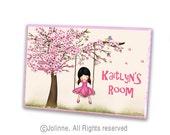 Cherry Blossom tree personalized door sign , kids room door plaque, nursery art, door sign custom, kids door signs, art for kids room, gift