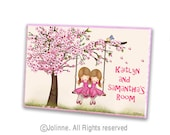Personalized door sign for sisters room,kids door sign,cherry blossom sign,Sisters door plaque,custom name sign,wooden door plaque,twin sign