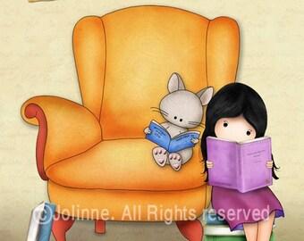 Children books posters, Kids room wall art , nursery decor, book nook room picture, kids reading books artwork, girl room decoration art
