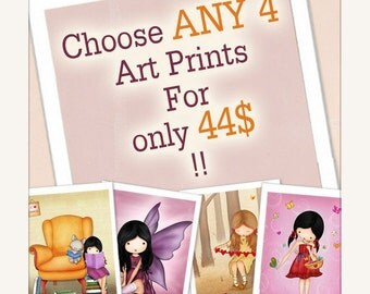 Children Art Prints, nursery wall art , kids room decor - for a special price - Choose ANY 4 art prints girls or boys, nursery art, kids
