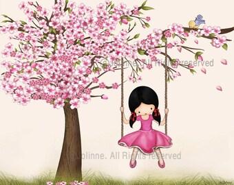 Cherry blossom tree wall art print, poster gift for girls, kids room decor,art girls room,pink girls art,nursery decor,African American girl