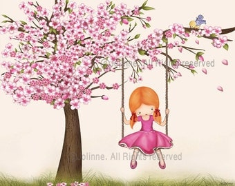 Childrens Wall Art, kids room art, nursery art, Art Decor,cherry blossom tree - poster for girl nursery or bedroom