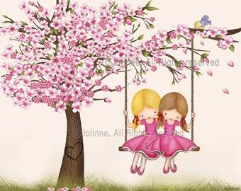 Girls room art, illustration, children art, kids room art, sisters room art, poster, cherry blossom tree, pink wall art for girls room