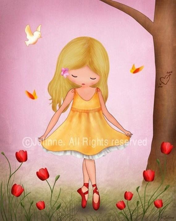 Art print for girls room, nursery art, ballerina, children room decor, pink wall art, children spring,  nature inspired