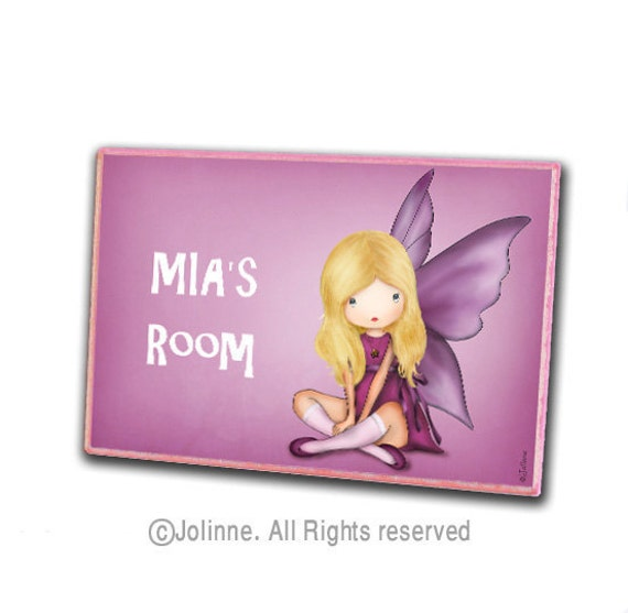 Door sign, Personalized Kids Door Plaques, kids room art, custom name art for girls, angel, fairy, pink custom gift