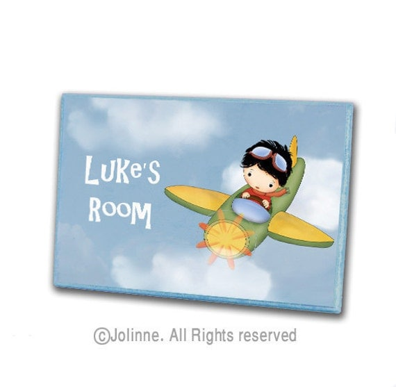 Personalized boys door sign, kids room sign,  children housewares , Boy flying an airplane door hanger illustration, children decor