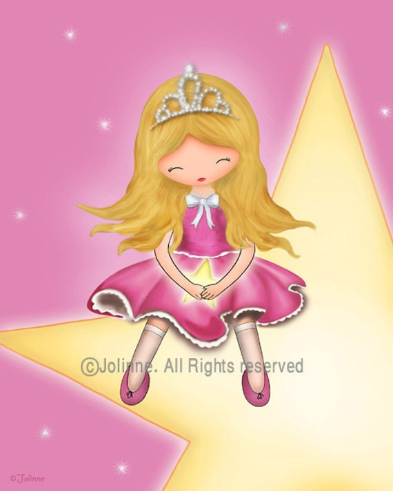 Princess star, Princess Art, Star Decor, girls room art,baby girls room art,kids wall art,nursery artwork,childrens art,girls room poster