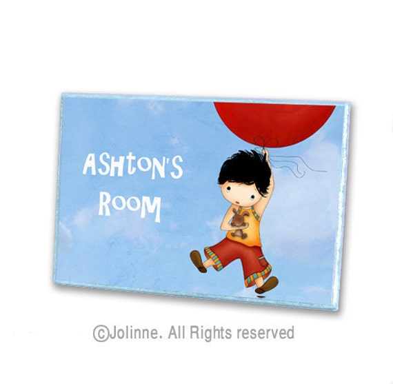 Personalized boys wooden door hanger sign, nursery personalized art, kids room sign, bedroom door plaque balloon bunny